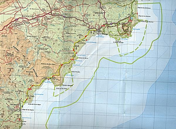 Mapa del recorrido Las Negras Agua Amarga