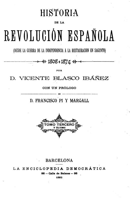 Portada, Historia de la revolución Española, Vicente Blasco Ibáñez