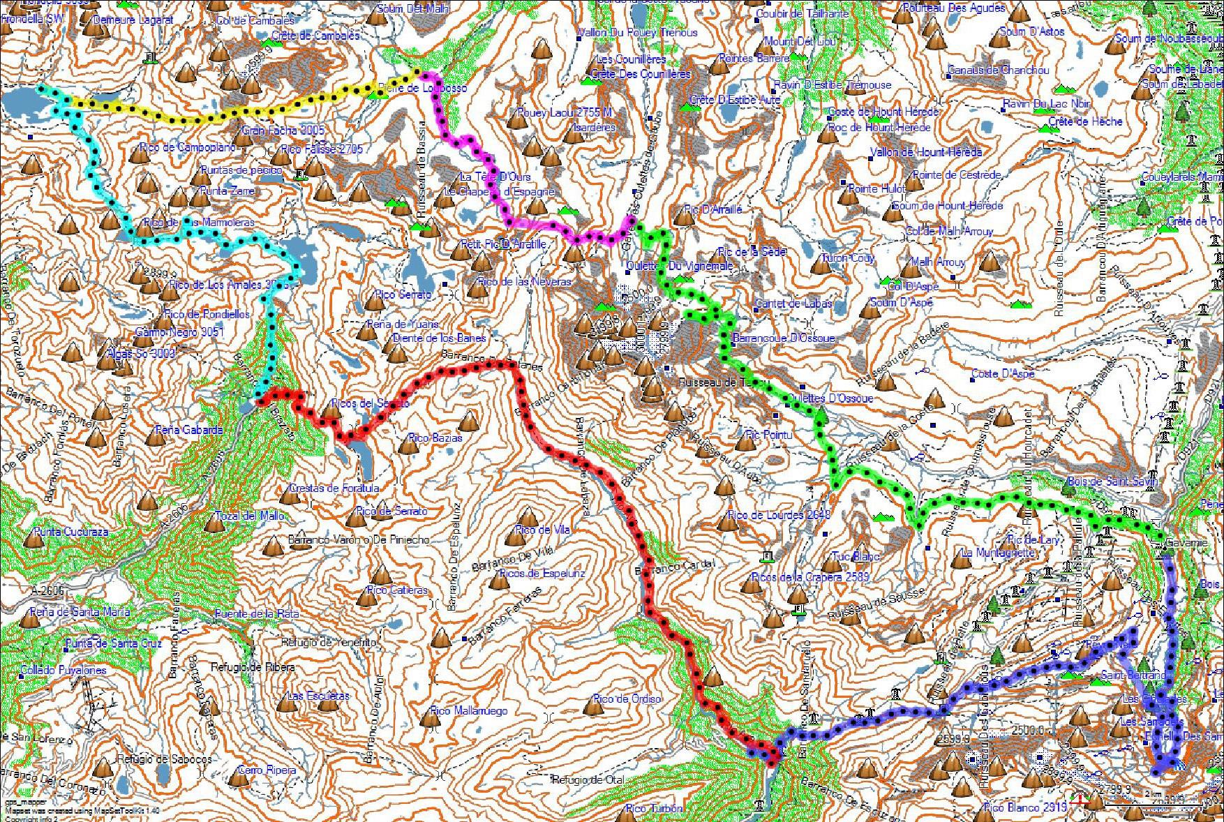 Mapa con el recorrido de la ruta-Pirineos