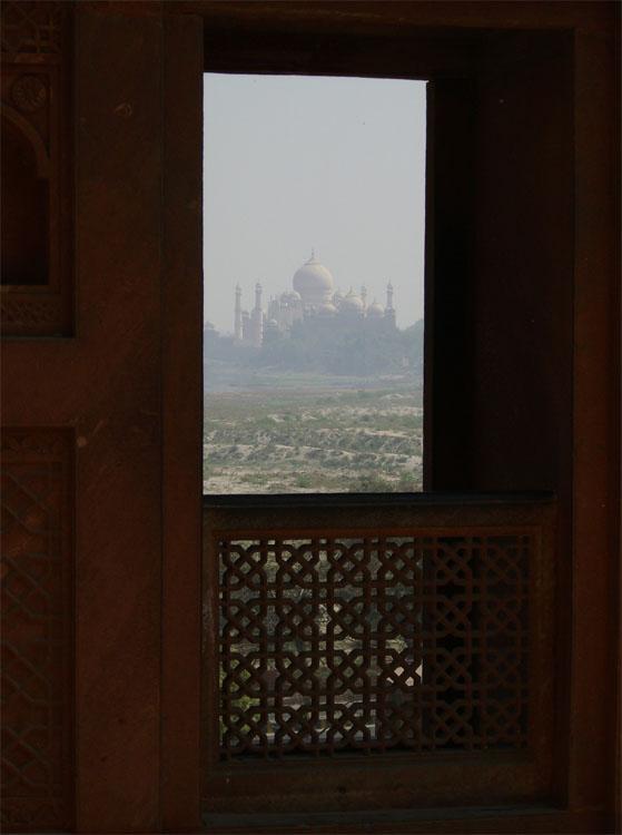 Taj Mahal desde el Fuerte Rojo de Agra