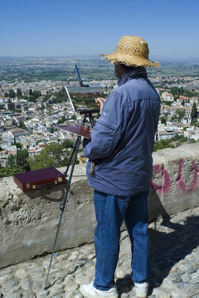 Pintor en el Mirador de San Miguel Alto-Granada